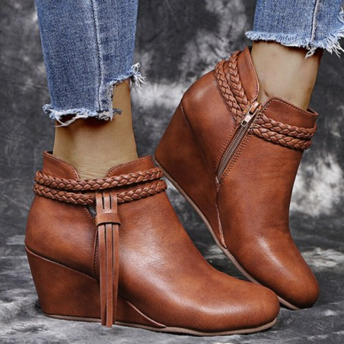 Trend Designer Women Ankle Tassel Boots Weaving Strap Fashion Shoes