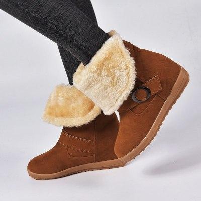 Winter Snow Boots Platform Warm Buckle Shoes