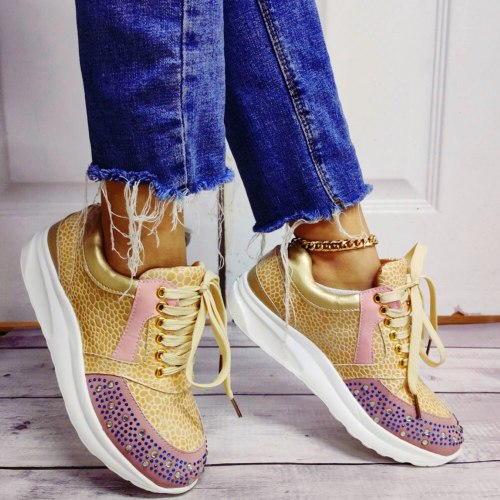 Fashion walking  Casual Shoes Crystals High Flats Female Footwear