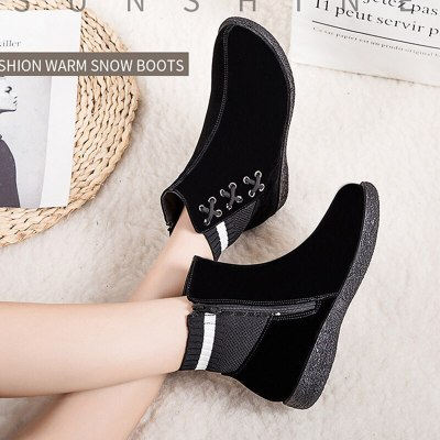 Fashion  Ankle Warm Short Handmade Sewing Platform Wedge Heel Round Toe Fashion Shoes
