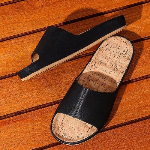 Women Slippers Pu Leather Platform Flat Heels Sewing  Sole Ladies Shoes