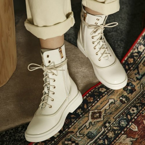 Autumn Women Boots White Platform Chunky Heel Round Toe Cool Shoes