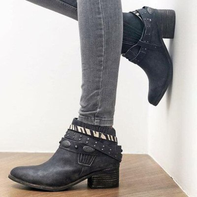 Winter Women Ankle Strap Pointed Toe Mid Square Heel Fashion Ladies Shoes