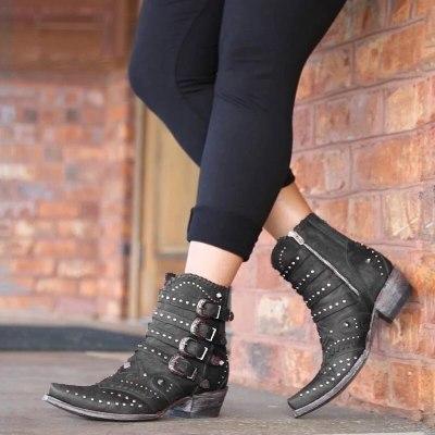 Fashion Women Cool British Rivet Design Soft Metal Short Boots Party Shoes