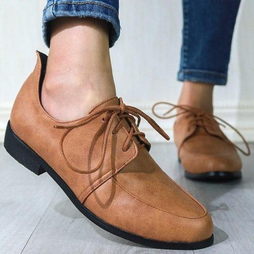 Vintage British Style Derby Shoes Flats Women