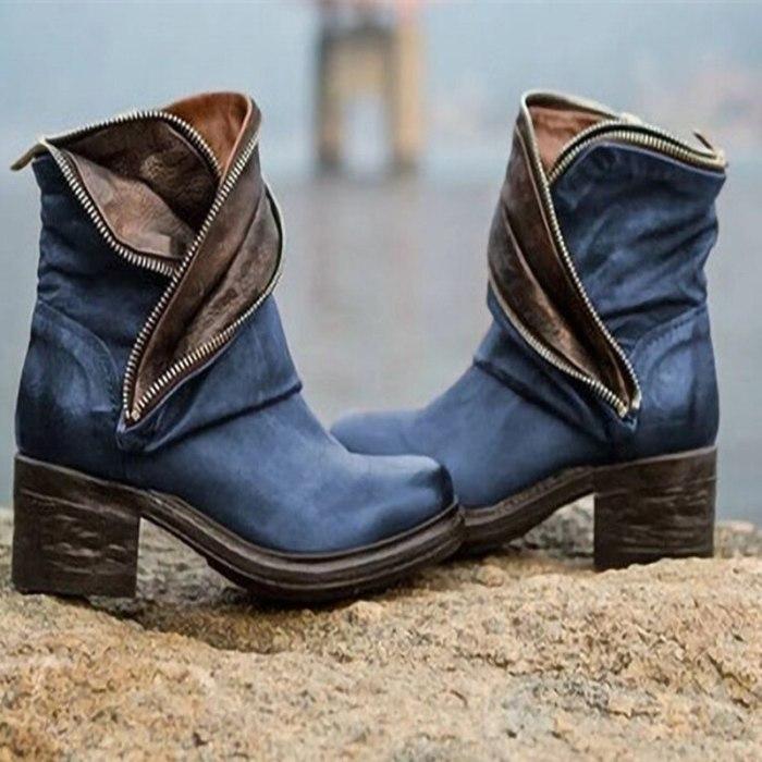 Women Boots Ankle Zipper Platform Square Mid Heel Fashion Ladies Shoes