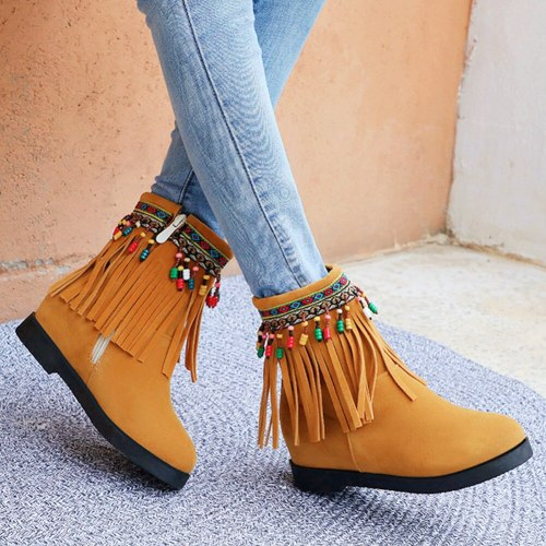 Ethnic Style Fringes Internal Increase Heels  Women Tassels Boots