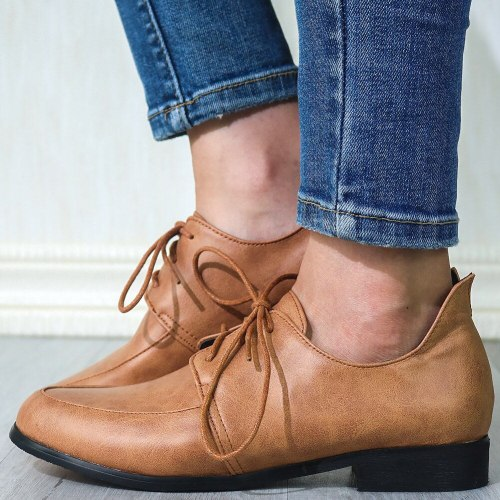 Vintage British Style Derby Shoes Flats Women