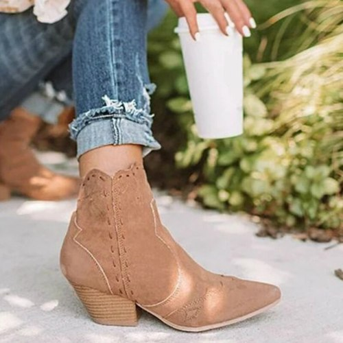 Autumn Women Platform Chunky Heel Flock Handmade Retro Casual Shoes