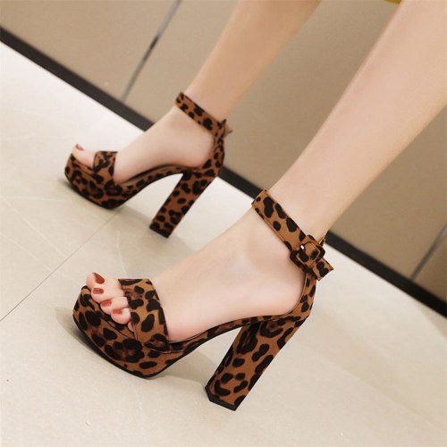 Women Sandals Square Heels Platform Leopard Pumps  Woman Shoes