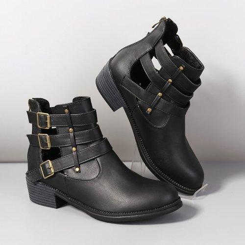Women Pu Leather Buckle Decoration Chunky Heel Zip Retro Shoes