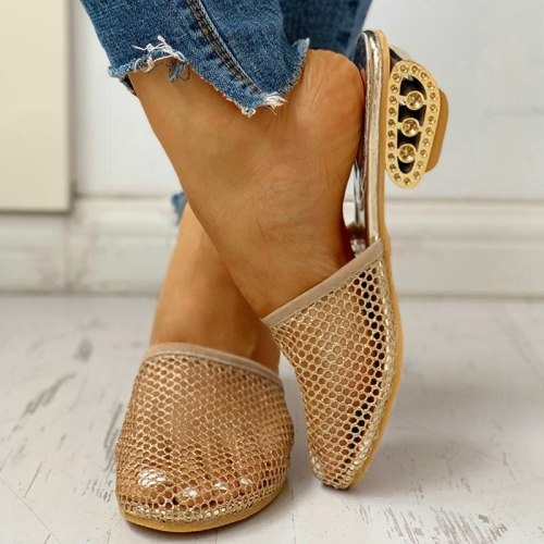 Women Mesh Low Strange Heels Solid Casual Outdoor Ladies Shoes