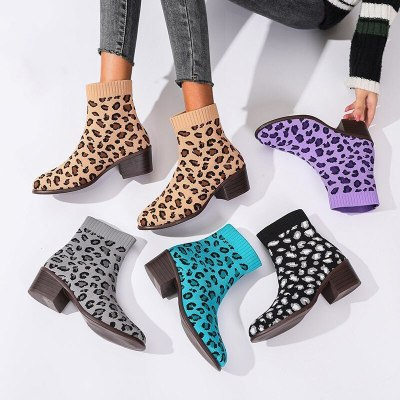 Women Ankle  Leopard Print Pointed Square Low Heel   Fashion Trend Shoes