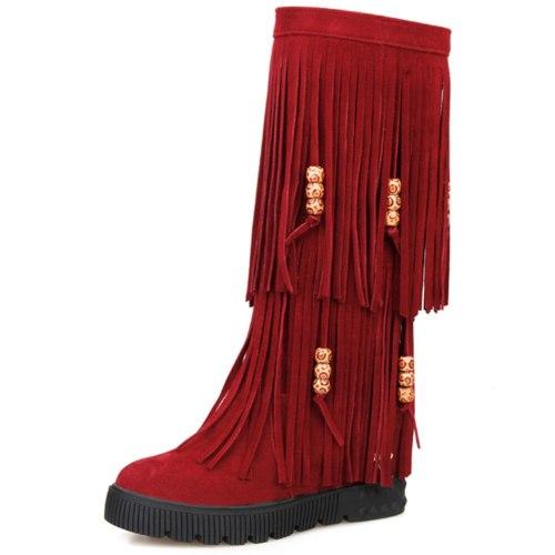 Internal High Heels Winter Tassels Shoes Boots Women