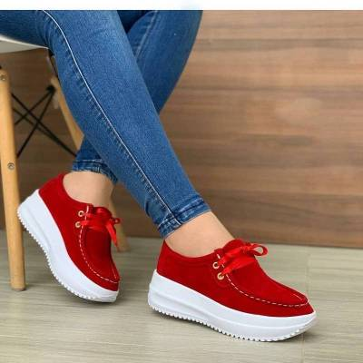 Solid Color Lace Up Walking Women's Shoes