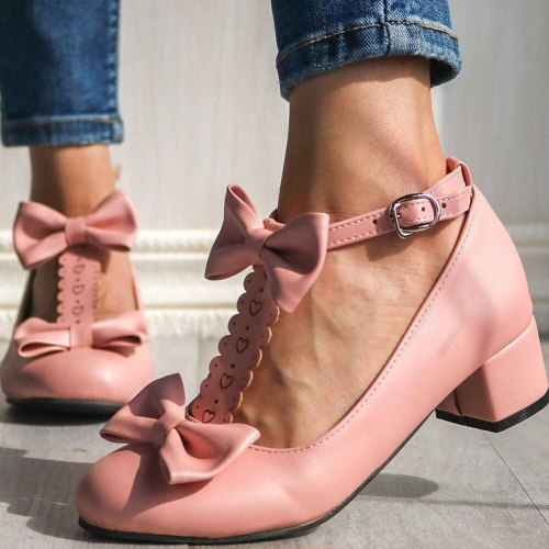 Chunky Heels Sweet Lolita Butterfly-Knot Pumps Shoes Women
