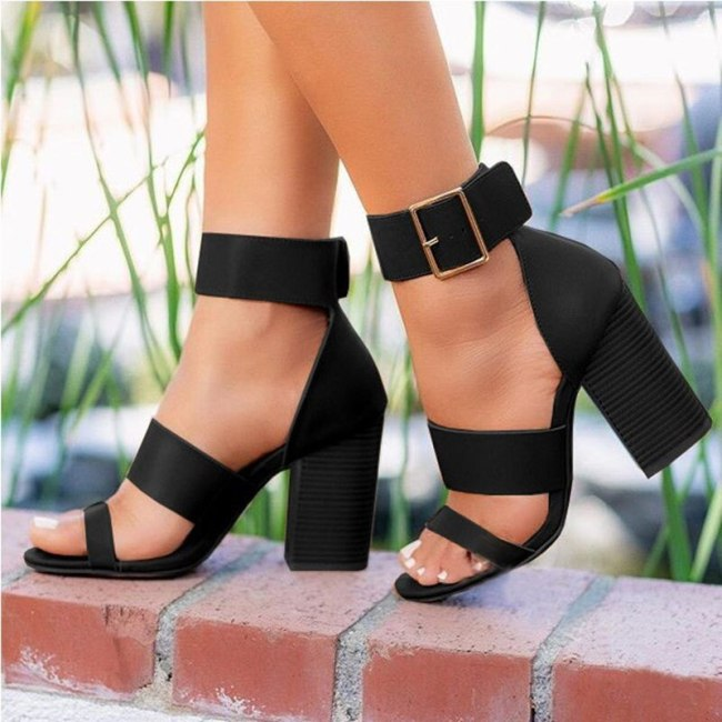 Women's Sandals High Heels Woman Classic Ankle Buckle Strap Ladies Shoes