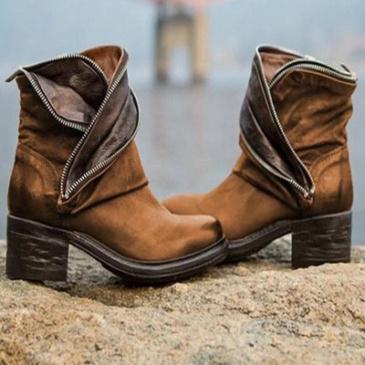 Women Boots Ankle Zipper Platform Square Mid Heel Fashion Ladies Shoes