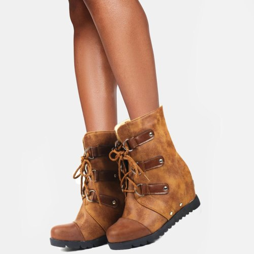 Vintage Booties Skidproof Sole high heels Shoelaces Shoes Ankle Boots