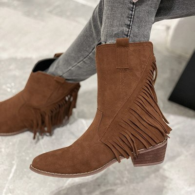 Fashion Tassel Boots Women Fringe Pointed Toe Low Chunky Shoes