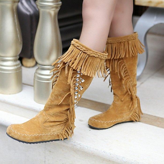 Crystals Rhinestones Fringes Winter Shoes Women Tassels Boots Footwear