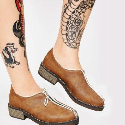 British style Shoes Woman Leisure Fashion  Match Zipper Flats Female