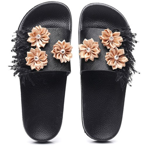 Summer Women Flower Slippers Flat Heel  Slides Ladies Shoes