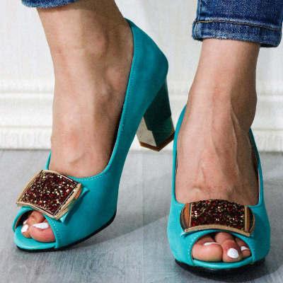 Peep Toe Block High Heels Summer Pumps Shoes Woman