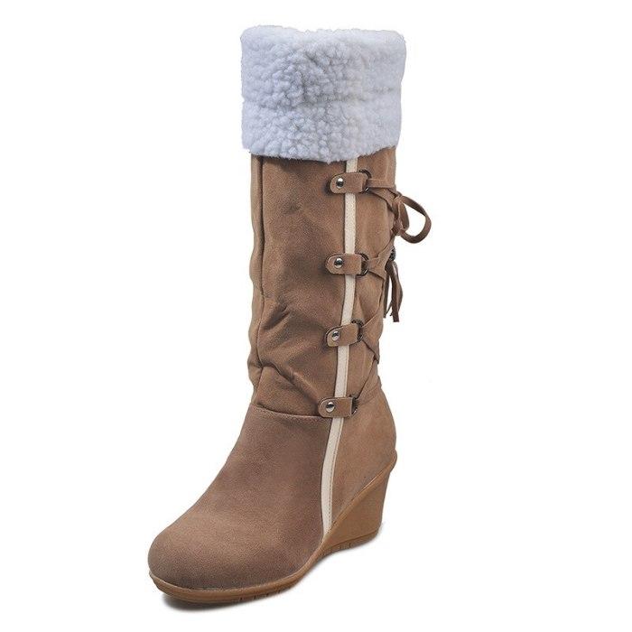 Winter Mid-calf Heel Round Toe Footwear Casual Shoes