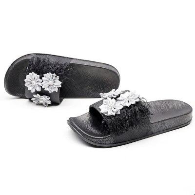 Summer Women Flower Slippers Flat Heel  Slides Ladies Shoes
