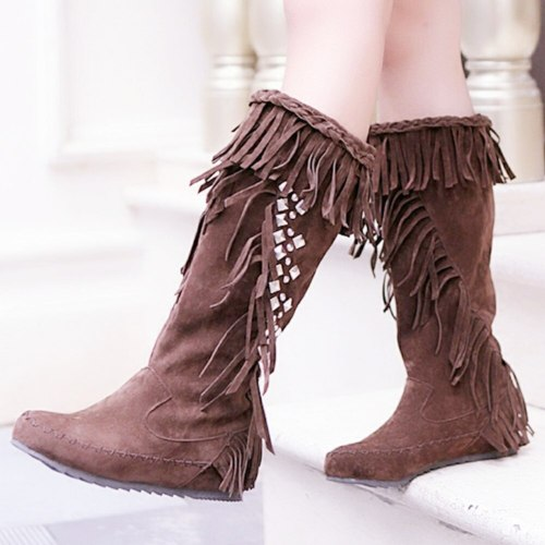Crystals Rhinestones Fringes Winter Shoes Women Tassels Boots Footwear