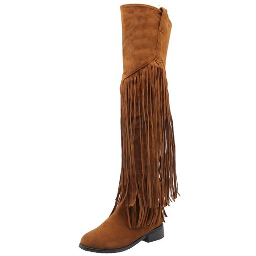 Vintage Fringes Winter Shoes Women Over The Knee Tassels Boots Female