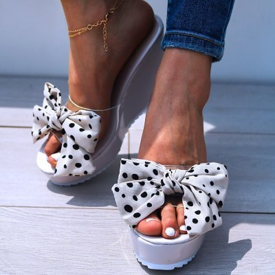 Sweet Bow Transparent High Heels Leisure Sandal Women Wedges Shoes