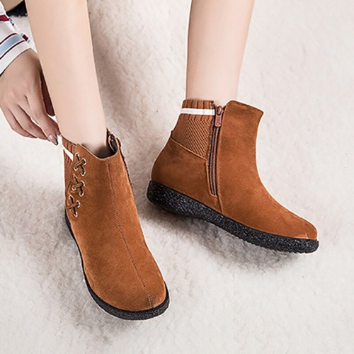 Fashion  Ankle Warm Short Handmade Sewing Platform Wedge Heel Round Toe Fashion Shoes