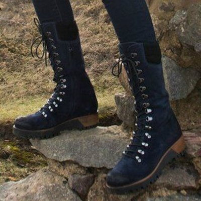Winter Women Mid-calf Boots Platform Low Thick Heel Biker Shoes