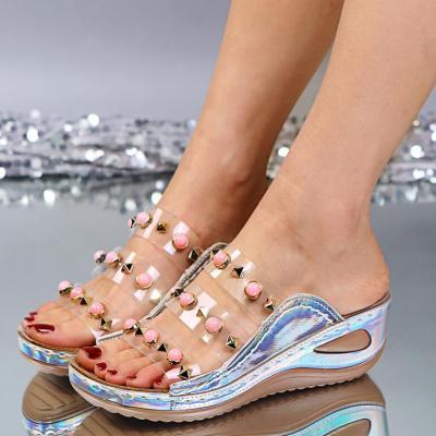 Womens  Beach Shoes Flip-Flops Open Toe Rhinestone Casual Beach Shoes