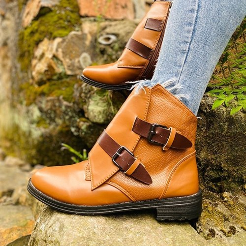 Women Fashion Ankle Boots Double Buckle Zip Platform Chunky Heel Pu Leather Casual Shoes