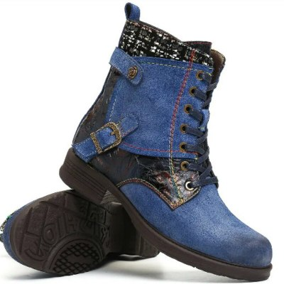 Winter Fashion Button Buckle Wool Lining Square Heel Cross-tied Casual Shoes
