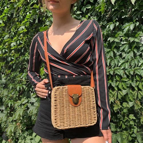 Beach Vacation straw Bag Crossbody Bags Female Handbags Lady Casual shoulder