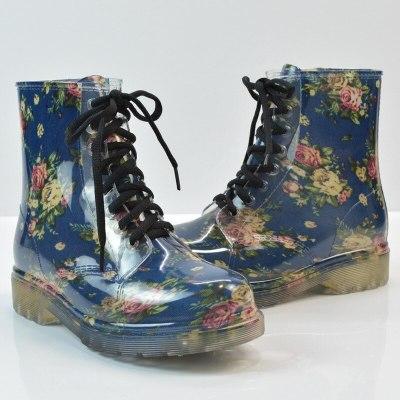 All Season Women Floral Rain Boots Transparent Waterproof Fashion Ladies Shoes