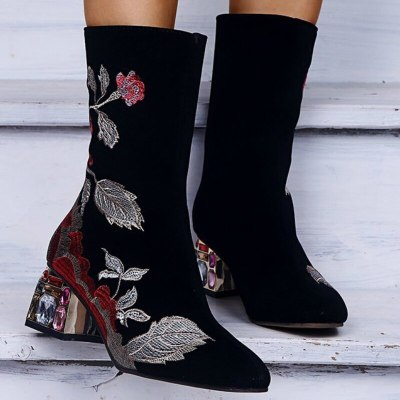 Winter Mid-calf Women Boots Floral Mid Square Heel Shoes
