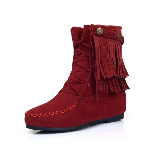 Increase Shoelaces Vintage Winter Shoes Women Tassels Boots Female