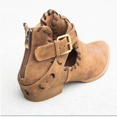 Women Short  Flock Leather Sewing Heel Pointed Toe Casual Retro Shoes