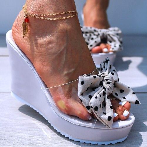 Sweet Bow Transparent High Heels Leisure Sandal Women Wedges Shoes