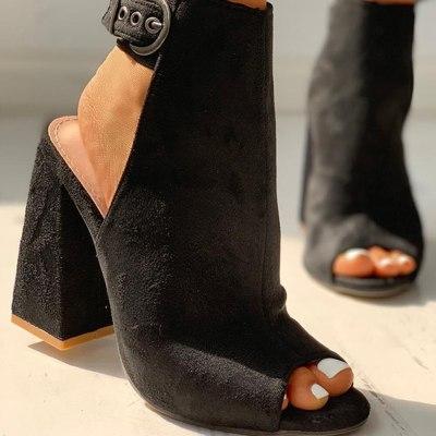 Black Flock Block High Heels Slingback Summer Woman Shoes