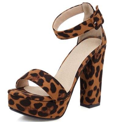 Women Sandals Square Heels Platform Leopard Pumps  Woman Shoes