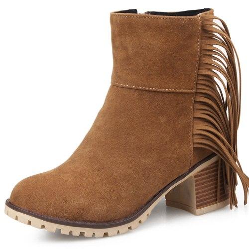 Fashion Vintage Fringes Chunky Heels  Boots Female Footwear