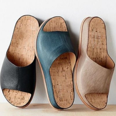 Women Slippers Pu Leather Platform Flat Heels Sewing  Sole Ladies Shoes