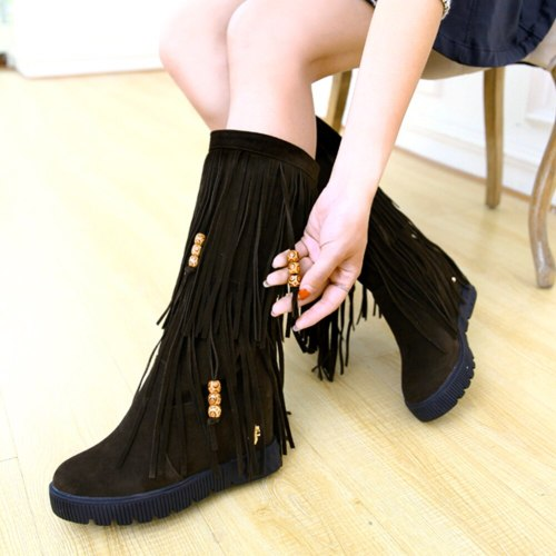 Internal High Heels Winter Tassels Shoes Boots Women