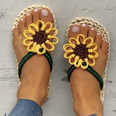 Women Slippers Flat Heel Slides Platform  Flower Casual Ladies Shoes
